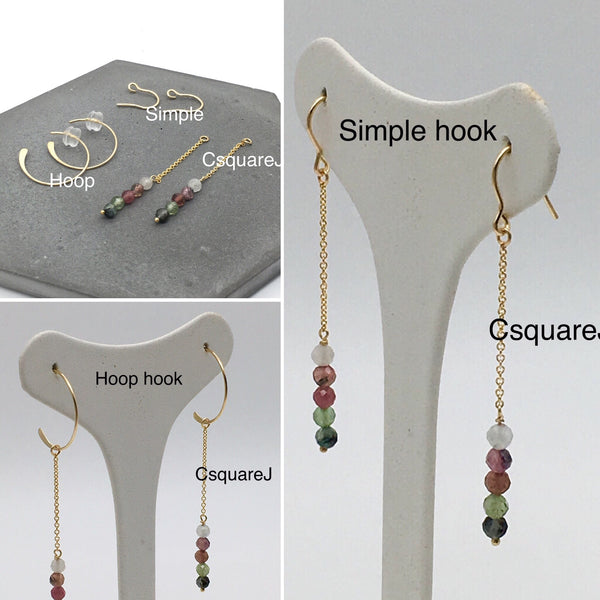 14k Gold filled Dainty Stones earrings - Tourmaline - Choose your earring hooks