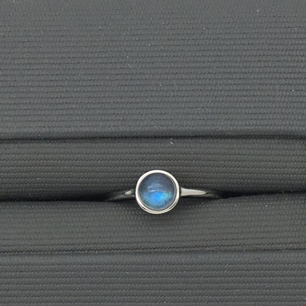 Curated Minimalist Dainty Labradorite  Ring - 925 Sterling silver - adjustable ring size