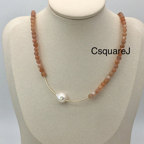 Asymmetric necklace, Statement necklace - Sunstone and Pearl