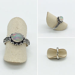 Curated Opal Ring - 925 Sterling silver - adjustable ring size