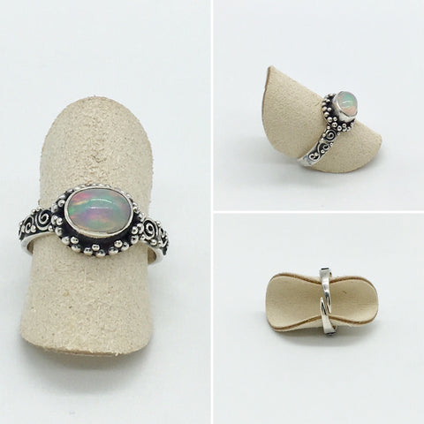 Online Only Offers - Curated Opal Ring - 925 silver - adjustable ring size