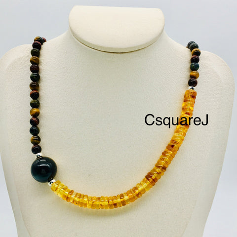 Asymmetric necklace, Statement necklace - Tiger eye and Amber