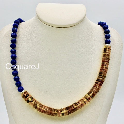 Asymmetric necklace, Statement necklace - Lapis Lazui and Amber