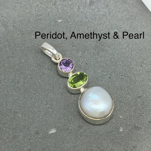 Curated 925 Sterling Silver Pendant - Peridot and Pearl, August Birthstone, June Birthstone