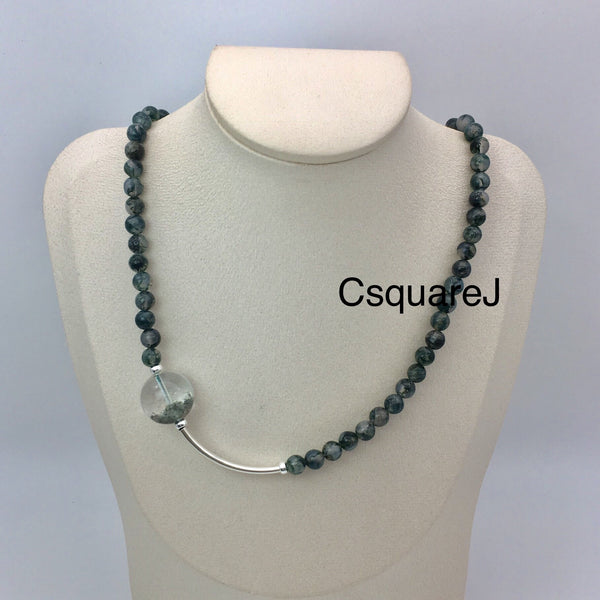 Asymmetric necklace, Statement necklace - Moss Agate and Phantom Quartz