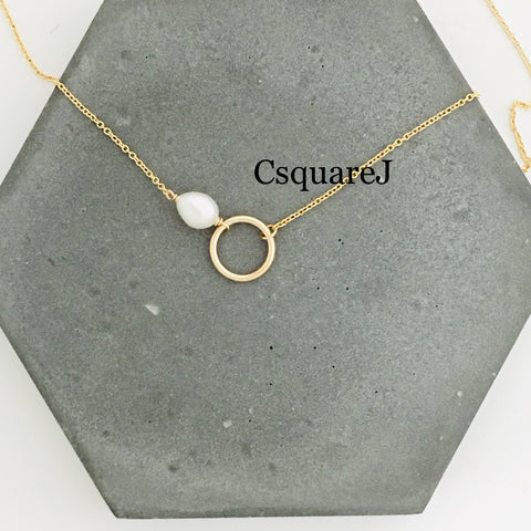 14K Gold filled Minimalist necklace - Freshwater Pearl, Circle, Eternity necklace