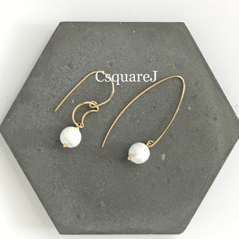 14k Gold filled - Howlite Drop earring, moon, crescent
