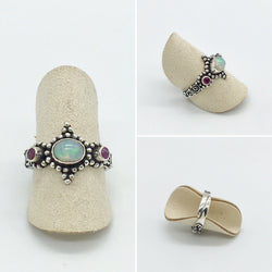 Curated Opal Ring and Ruby - 925 Sterling silver - adjustable ring size