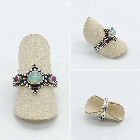 Online Only Offers - Curated Opal Ring and Ruby - 925 silver - adjustable ring size