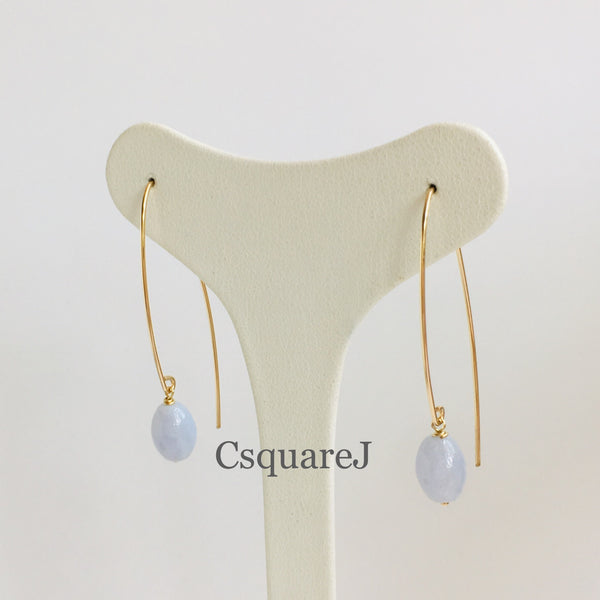 14k Gold filled, 14K Rose-Gold filled & Sterling Silver - Blue Lace Agate Drop earring