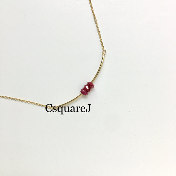 14K Gold filled Minimalist dainty necklace - 3Ruby, July Birthstone