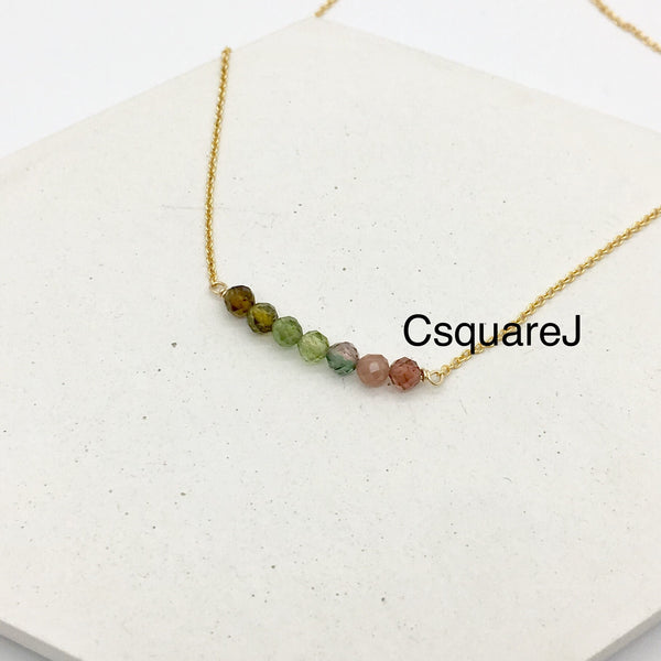 14K Gold Filled Dainty stone necklace - Tourmaline