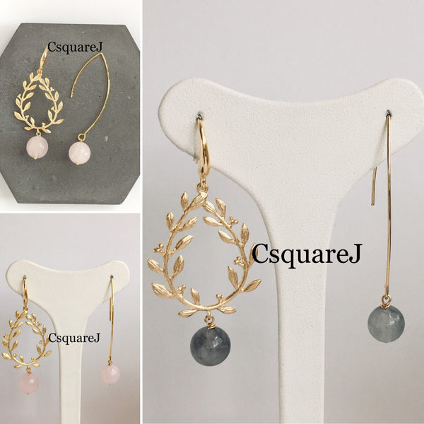 Laurel wreath Drop Earrings - Rose Quartz/ Howlite/ Cloud Quartz
