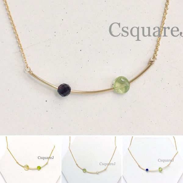 14k Gold Filled Minimalist dainty necklace - Peridot - August birthstone