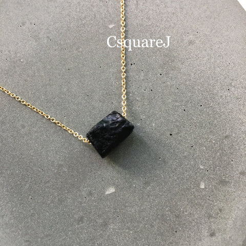 14k Gold filled Minimalist Black Tourmaline Necklace