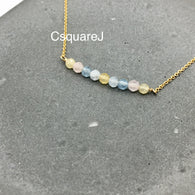 14K Gold Filled Dainty stone necklace - Morganite 2