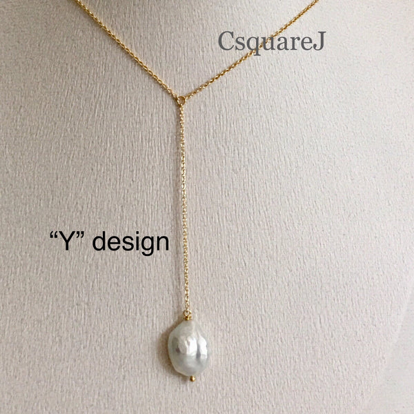 14K Gold Filled Minimalist Pearl Y necklace