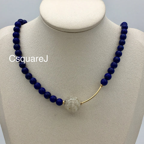 Asymmetric necklace, Statement necklace - Lapis Lazuli and White Phantom