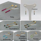 14k Gold filled Dainty Stones earring backings - Amazonite, Golden Strawberry quartz, Ruby, Peridot and Tourmaline