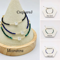 Moonstone Dainty Bracelet - 14K Gold Filled, Black Spinel, Lapis Lazuli, Malachite, Moonstone