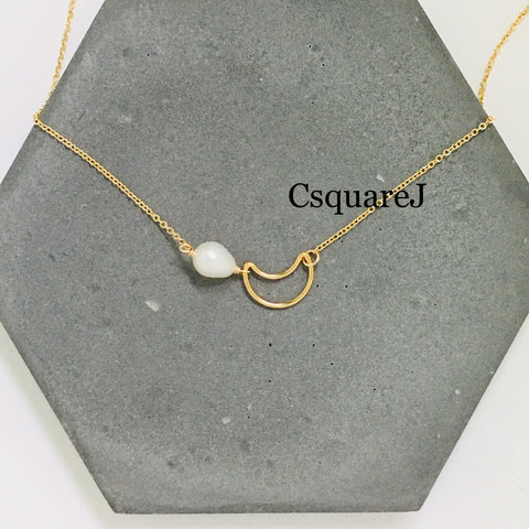 14K Gold filled Minimalist necklace - Moon, Freshwater pearl Crescent necklace