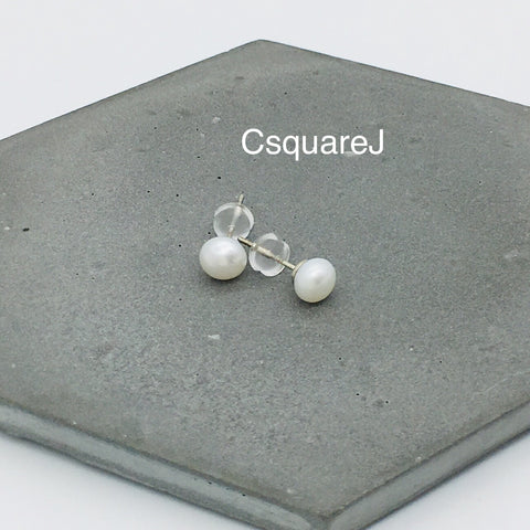 Pearl stud earrings - 925 Sterling Silver