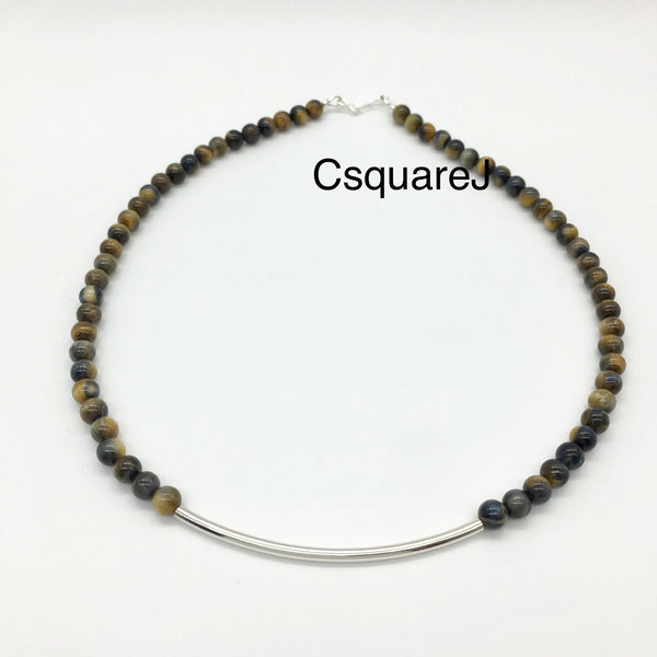 Tiger Eye Sterling Silver Curved Tube necklace