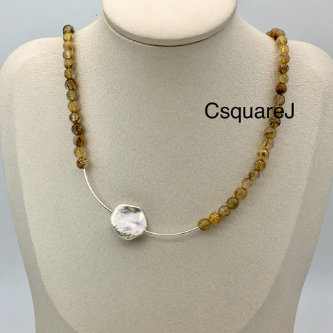 Asymmetric necklace, Minimalist necklace - Pearl and Rutilated Quartz