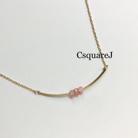 14K Gold filled Minimalist dainty necklace - 3Rhodochrosite