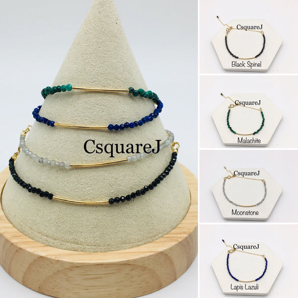 Dainty Bar Bracelet - 14K Gold Filled, Black Spinel, Lapis Lazuli, Malachite, Garnet, Moonstone, Grey Moonstone