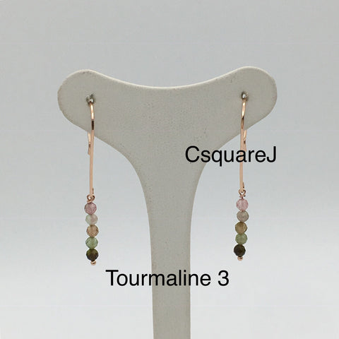 14k ROSE Gold filled Dainty Stones earrings - Tourmaline