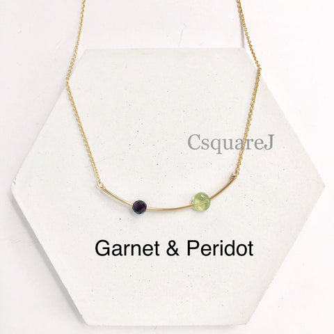 14k Gold Filled Minimalist dainty PERIDOT necklace - August birthstone