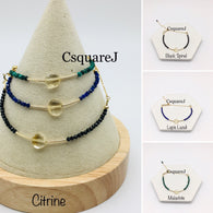 Citrine Dainty Bracelet - 14K Gold Filled, Black Spinel, Lapis Lazuli, Malachite