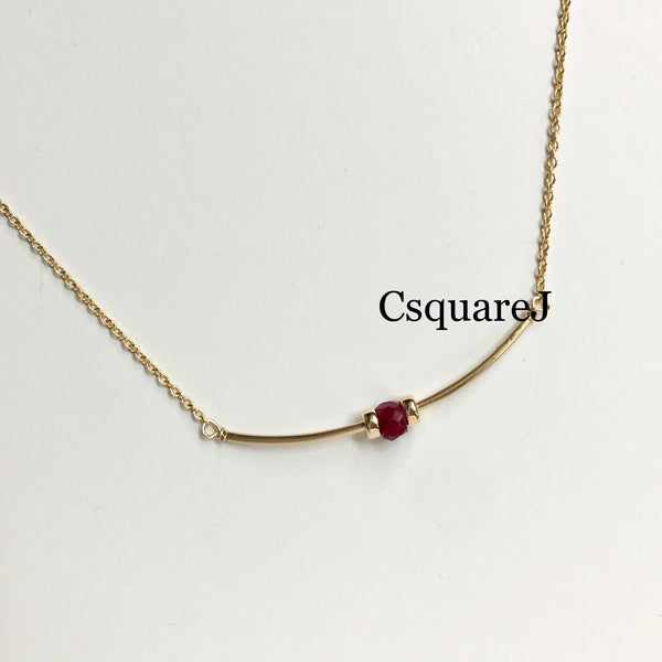 14K Gold filled Minimalist dainty necklace - Ruby, July Birthstone