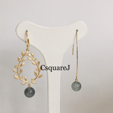 Online Only Offers - Laurel wreath Drop Earrings - Rose Quartz/ Howlite/ Cloud Quartz