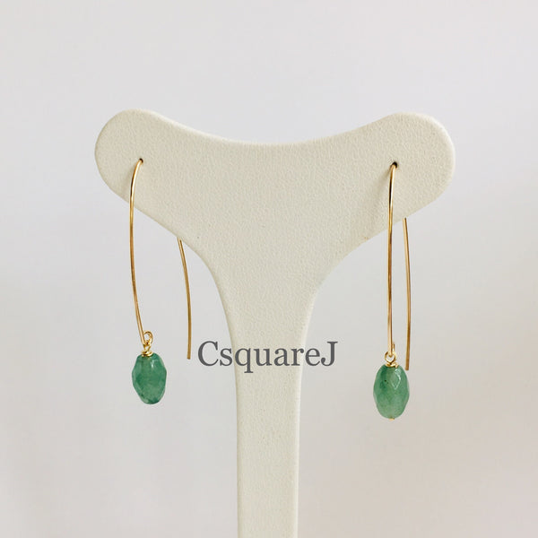 14k Gold filled, 14K Rose-Gold filled & Sterling Silver - Aventurine Drop earring