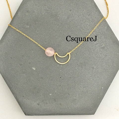14K Gold filled Minimalist necklace - Rose quartz, Moon, Crescent necklace