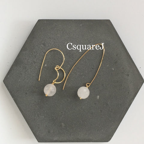14k Gold filled - Rose Quartz Drop earring, moon, crescent