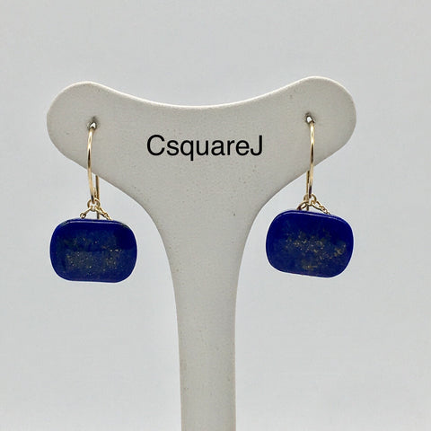 14k Gold filled - Short Dangling earrings - Lapis Lazuli