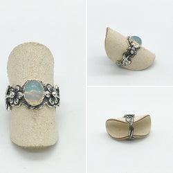 Curated Opal Flower Ring - 925 Sterling silver - adjustable ring size