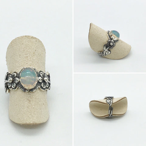 Online Only Offers - Curated Opal Flower Ring - 925 Silver - adjustable ring size