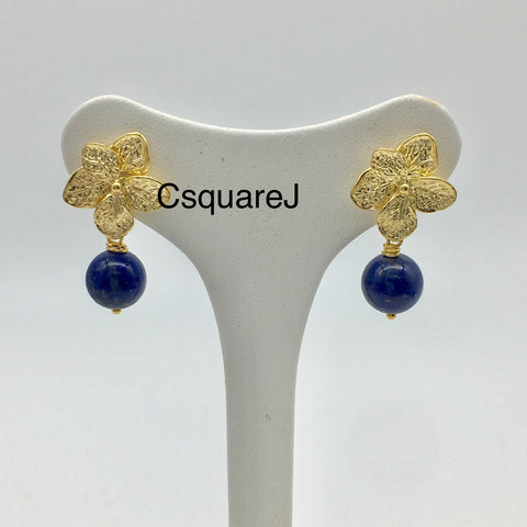 Flower stud earrings - Gold, Lapis Lazuli