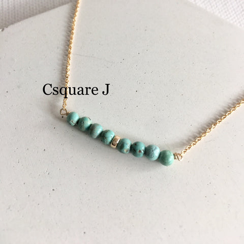 14K Gold filled Minimalist dainty necklace - Turquoise