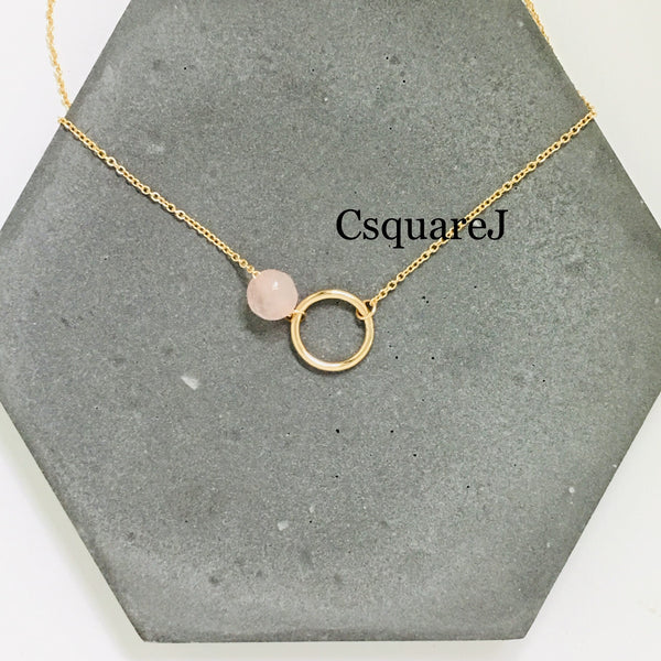 14K Gold filled Minimalist necklace - Rose Quartz, Circle, Eternity necklace