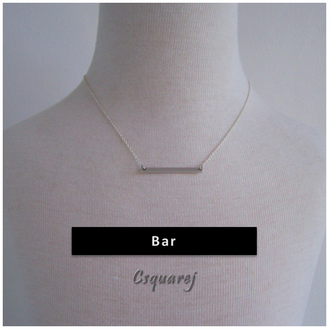 Dainty Flatbar Silver Necklace - Matte finishing