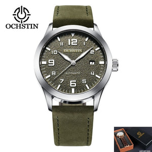 OCHSTIN Man Mechanical Pilot Wrist Watches For Men Luxury Casual Self Winding Leather Mechanic Male Clock Date relogio masculino