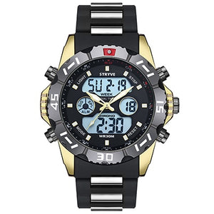 Stryve 8011 Relojes Brand Waterproof Military Sport Watches Men Stainless Steel Digital Quartz Dual Display Watch montre homme