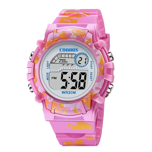 Navy Blue Camouflage Kids Watches LED Colorful Flash Digital Waterproof Clock For Boys Girls Date Week Creative Children's Watch