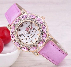 Cute Leather Quartz Watch Children Kids Girls Casual Fashion Bracelet Wrist Watch Clock Relogio Feminino