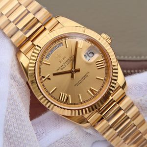 Men Watch top brand luxury 18K Gold Watch 40MM High Quality Stainless Steel Calendar genava male wristwatches rolexable watch